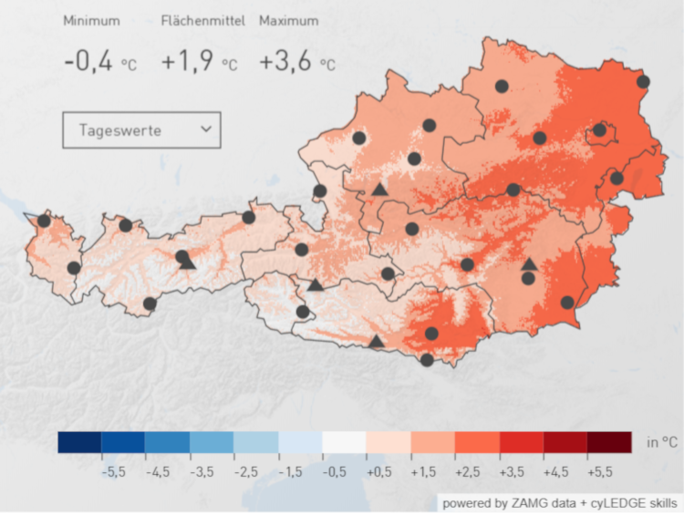 Temperaturabweichung zum klimatologischen Mittel von 1981 bis 2010 über Österreich. Quelle: ZAMG