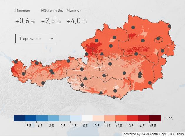Österreichweite Karte der Temperaturanomalie im Dezember 2019. Quelle: ZAMG