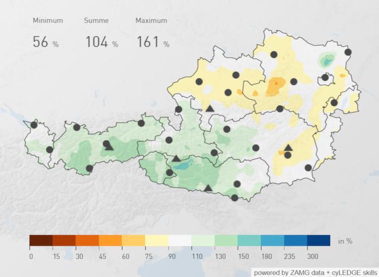 Niederschlagsverteilung über Österreich im 2019. Relativ zum Zeitraum zwischen 1981 bis 2010.