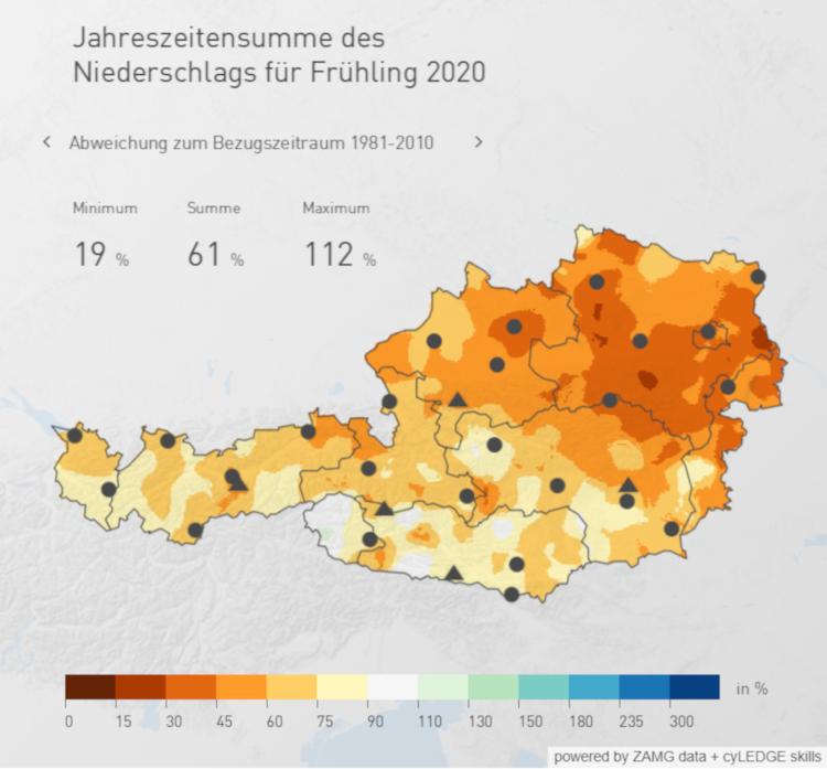 Abweichung des Gesamtniederschlags im Frühling 2020 zum klimatologischen Mittel. Stand: 16.05, Quelle: ZAMG
