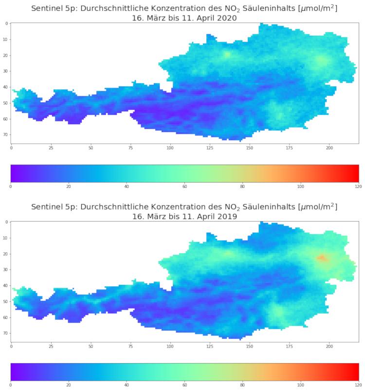 Vergleich Stickstoffdioxid 2020 (oben) und 2019 (unten): Dargestellt ist die durchschnittliche Konzentration von Stickstoffdioxid bis 12 Kilometer Höhe, im Zeitraum 16. März bis 11. April. Quelle: ZAMG