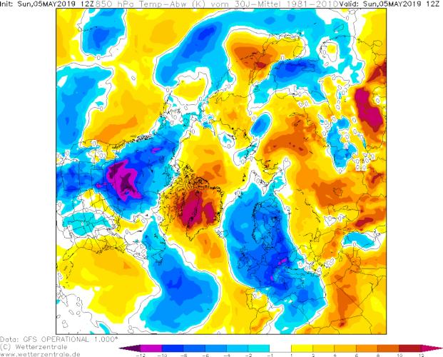 Temperaturabweichung der Nordhemisphäre zum klimatologischen Mittel; Quelle: Wetterzentrale