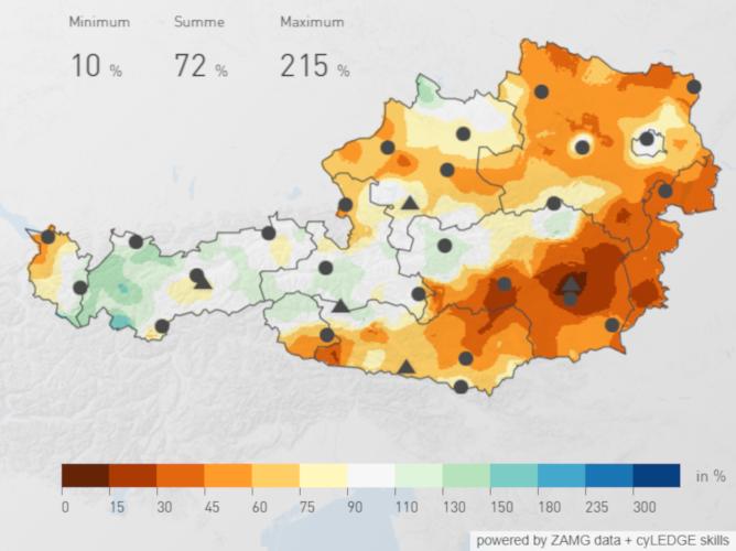 Österreichweite Niederschlagsverteilung des März 2019 im Vergleich mit der Periode von 1981 bis 2010; Quelle: ZAMG