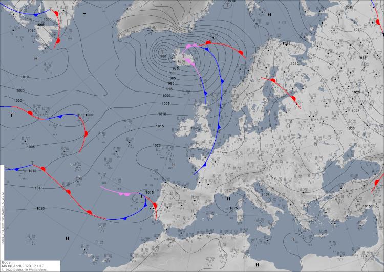 Bodenwetterkarte vom 06.April 2020. Hoch Keywan über Osteuropa ist wetterbestimmend für Österreich. Quelle: DWD