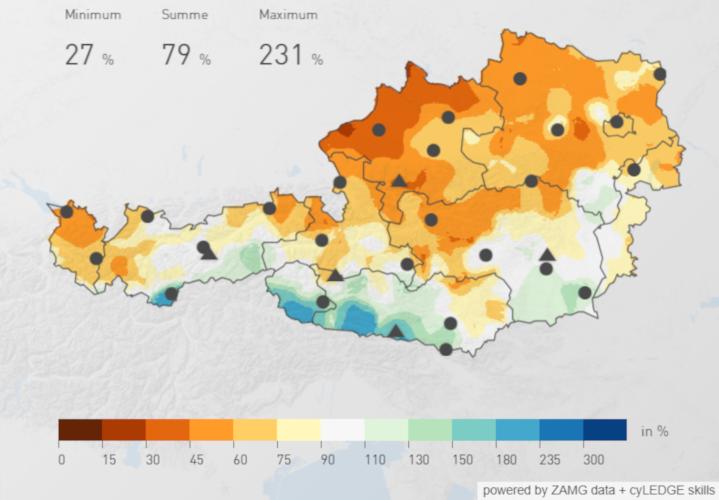 Niederschlagsverteilung über Österreich im April 2019 in % des klimatoligschen Mittels; Quelle: ZAMG