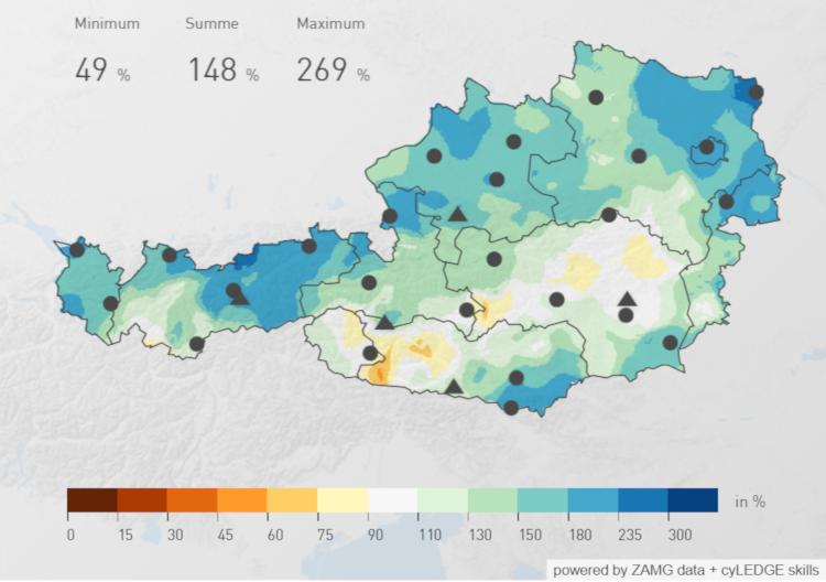 Österreichweite Niederschlagsverteilung im Mai 2019. Enorm viel Niederschlag im Norden. Quelle: ZAMG
