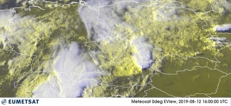 Die Superzelle vom 12. Augsut 2019 aus 36.000 Kilometern Höhe, aufgenommen von einem geostationären Satelliten. Quelle: EUMETSAT