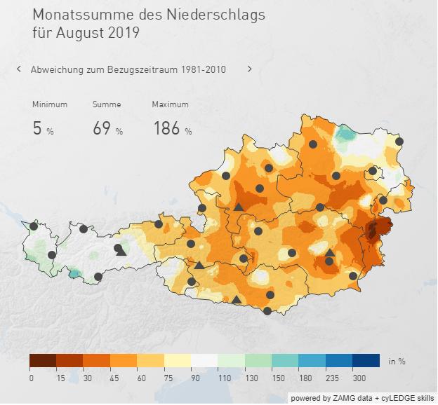 Die Niederschlagsverteilung über Österreich im August 2019; Quelle: ZAMG