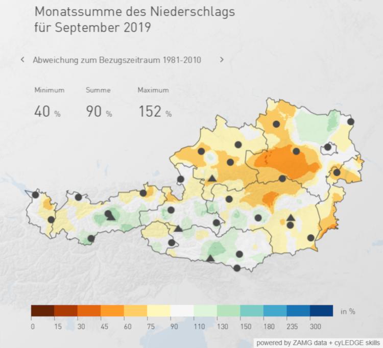 Die österreichweite Niederschlagsverteilung im Septemeber 2019, Quelle: ZAMG