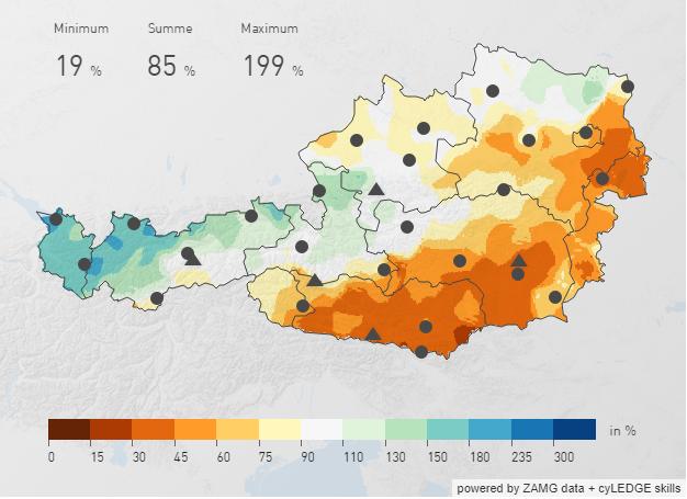 Relative Niederschlagsmenge im Oktober 2019 in Österreich. Quelle: https://www.zamg.ac.at