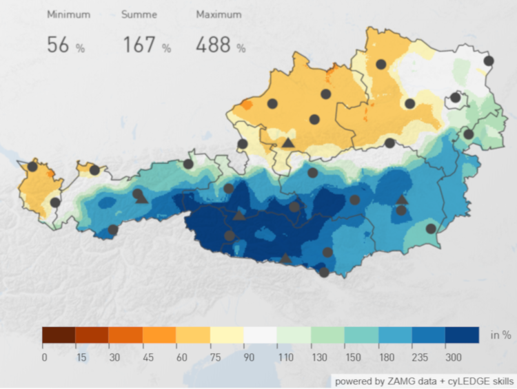 Niederschlagsverteilung im November 2019 über Österreich. Quelle: ZAMG