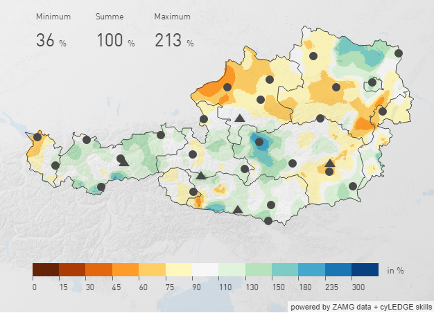 Österreichweite Karte der Niederschlagsverteilung im Dezember 2019. Quelle: ZAMG