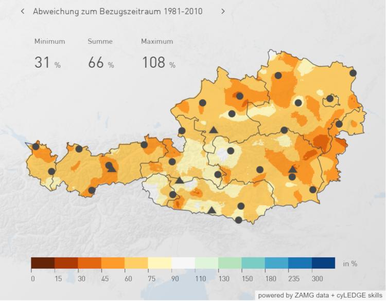 Niederschlagsverteilung über Österreich im Frühling 2020 (Monate März bis Mai 2020) ; Quelle: ZAMG