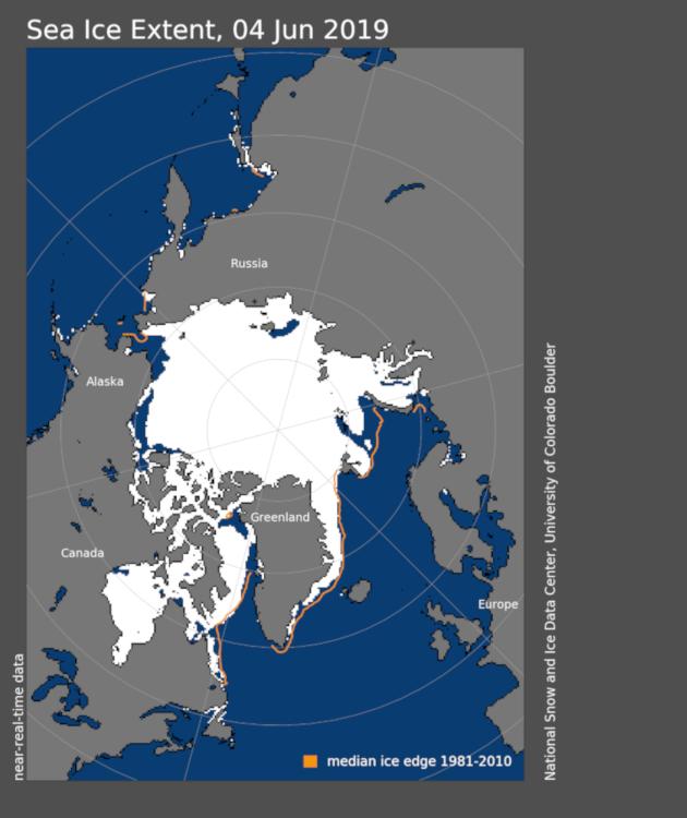 Aktuelle Lage der Meereisbedeckung über der Arktis. Quelle: https://nsidc.org/arcticseaicenews/