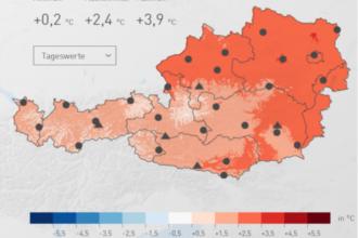 Österreichweite Temperaturabweichung des März 2019 im Vergleich mit der Periode von 1981 bis 2010; Quelle: ZAMG