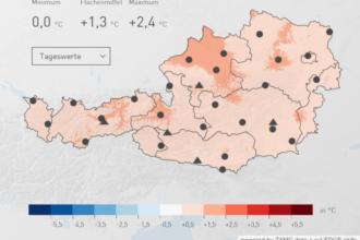 Temperaturabweichung zum 30 jährigen Mittel zwischen 1981 und 2010, Quelle: ZAMG