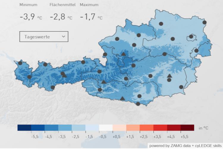 Österreichweite Temperaturverteilung im Mai 2019. Insgesamt lag er um 2,8 °C unter dem Durchschnitt. Quelle: ZAMG