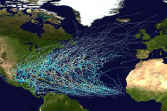 Die Zugbahnen aller Tropischer Wirbelstürme, die zscihen 1980 und 2005 auftraten. Quelle: wikipedia, Nilfanion