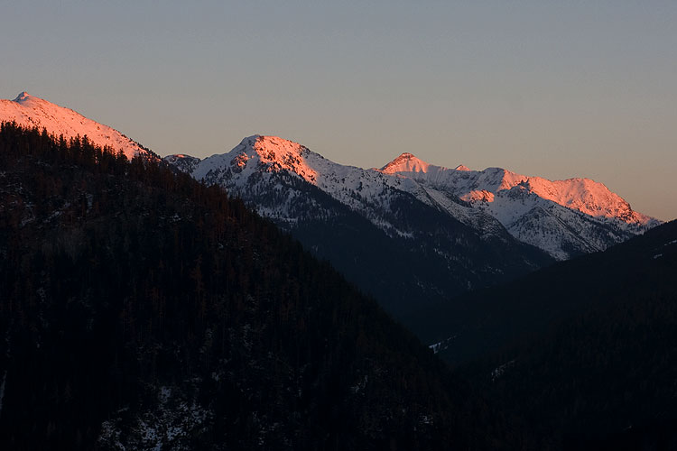 Alpenglühen in den Radstädter Tauern; Foto: wetter-wien.wien