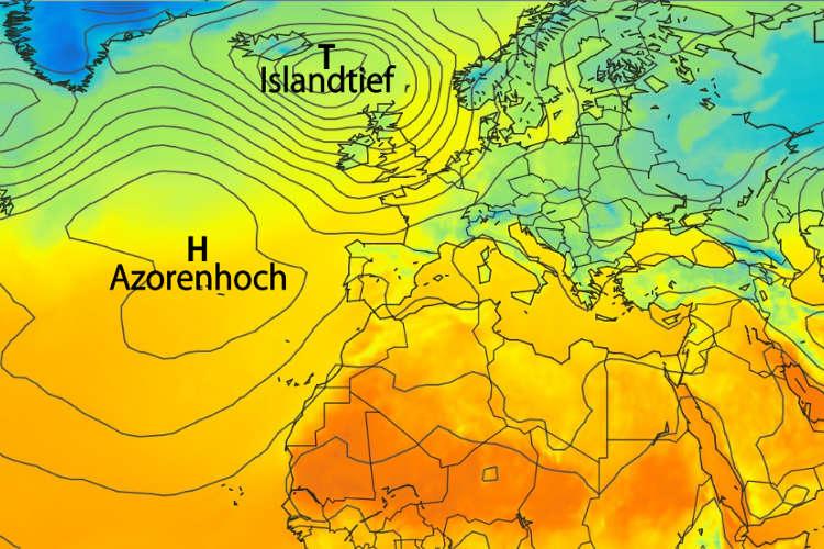 Nordatlantische Oszillation: Azorenhoch und Islandtief- Farbe zeigt Temperaturverteilung in 2m Höhe. Daten: GFS/NOAA