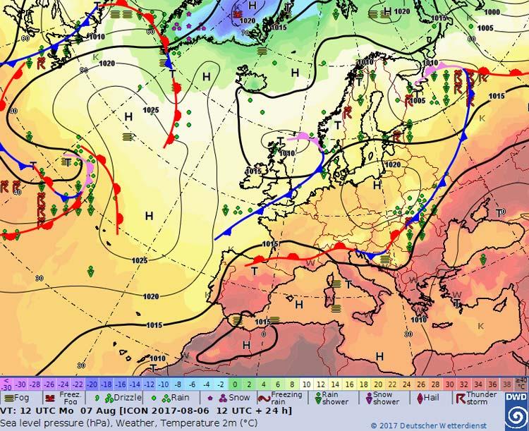 Wetter Europakarte