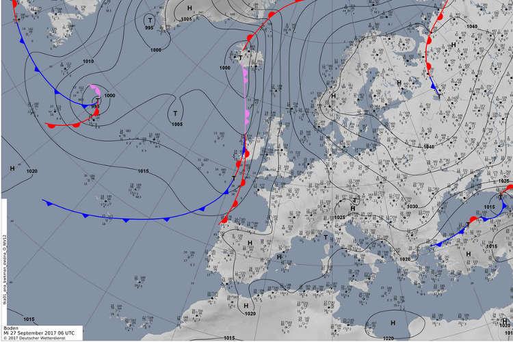 Okklusion: Zusammenschluss von Warmfront und Kaltfront auf einer Bodenwetterkarte Europas; Grafik: DWD-Deutscher Wetterdienst
