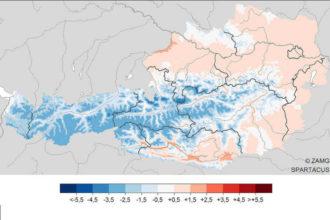 Temperatur-Mittel in Österreich im Januar 2019, Karte © ZAMG