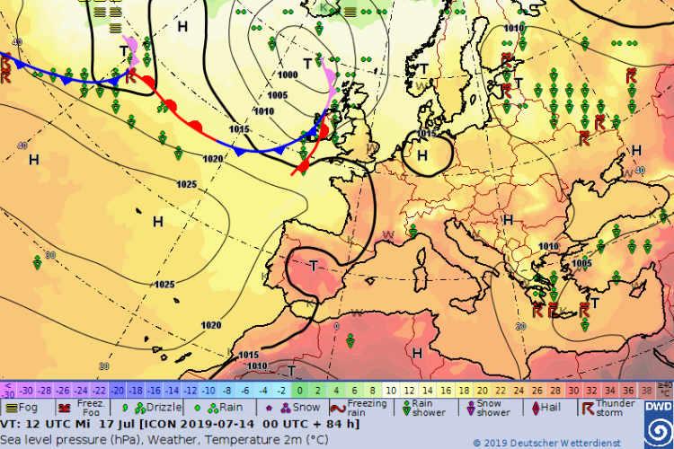 Grafik Wetterlage Bodendruck und Fronten ©DWD